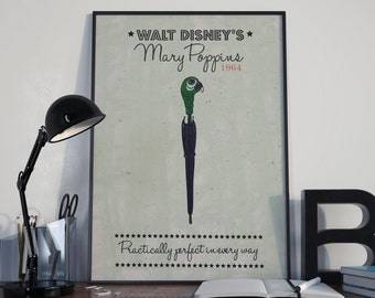 Mary Poppins minimalist A3 print - framed and unframed options available