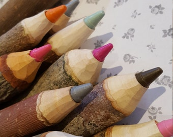 Chunky wooden crayons