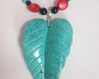 Turquoise Leaf Necklace with Red Coral and Black Onyx