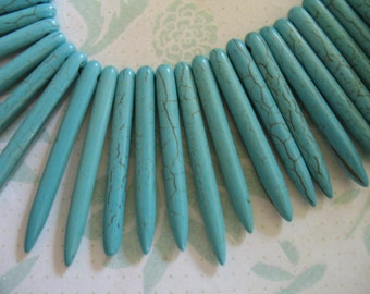 20 50 100pcs, Turquoise  Beads, Dyed Howlite POINT, 25-50 mm, aqua blue green december birthstone