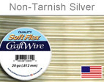 20ga. Silver Soft Flex Wire, Round, Silver Plated, Non-Tarnish, Supplies, Findings, Craft Wire