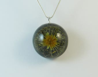 Real dandelion necklace, resin art jewelry pendant with dried seeds