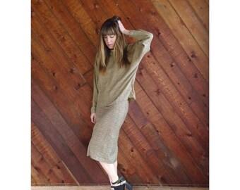EXTRA 20% OFF SALE.... Dot Print High Waist Pencil Skirt - Vintage 80s - Xs