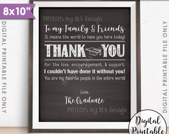 """Thank You Sign, Thank You Card, Graduation Party Decoration, Thanks from the Graduate, 8x10"""" Chalkboard Style Printable Instant Download"""