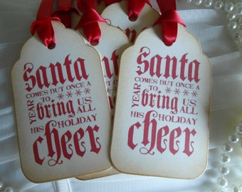 Vintage Inspired Christmas Gift Tags - Santa greeting