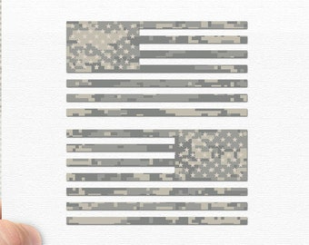 "Set of 2 - Jeep Wrangler American Camo Flag Decals - 6"" x 3.16"""