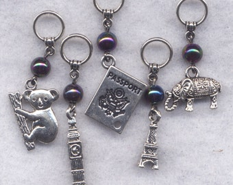 Dream Vacation Knitting Stitch Markers Travel Jet Set Eiffel Tower Big Ben Set of 5/SM178