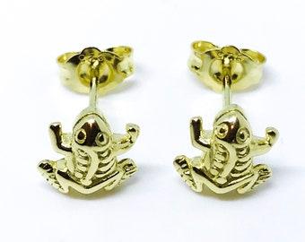 14K yellow gold on sterling silver frog earrings