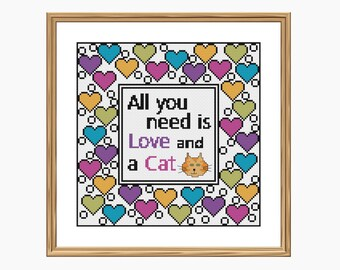 Cross stitch pattern, Modern cross stitch - LOVE and a CAT cross stitch chart - Downloadable PDF