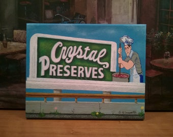 New Orleans Art / FREE SHIPPING / Road Sign Icon / From my Original Painting Crystal Preserves / Lagniappe / Certificate of Authenticity