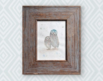 Original watercolour, mama and baby owl. This is an original, NOT A PRINT. There is only one like it. Perfect for a baby or child's room!