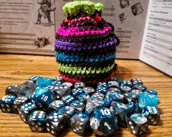 Neon Striped Crochet Dice Bag