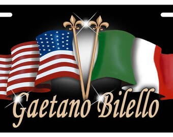 """USA Italian Unity Flags Motorcycle Size License Plate Any Text-Name In Any Color Personalize Gifts 4"""" x 7"""" Bikes Trikes ATV"""