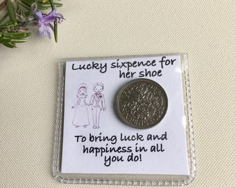 Gift for bride from maid of honor, lucky sixpence for the brides shoe, lucky wedding sixpence, keepsake for the bride, sixpence bridal gift