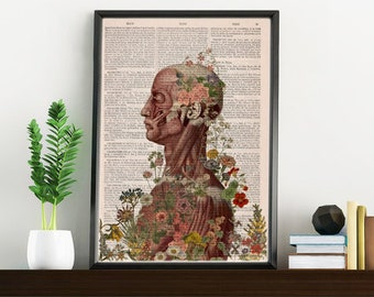 Nature is on me collage Printed on Vintage Dictionary Book page. art print,Wall decor art, Anatomy decor, upcycled art print SKA144