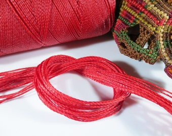 Red Waxed Polyester Cord 25ft pack  = 8.33 yards = 7,6 meters Linhasita Thread Brand #233