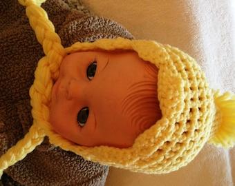 Handmade crochet girl hat, warm young child hat, Baby girl hat, Crochet baby girl hat, Photo prop hat, Baby shower, Baby gift, yellow