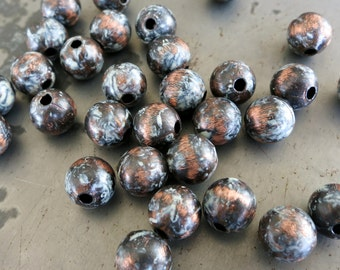 10 Cookies n Cream Patina Beads, Copper Beads, Hand Applied Patina, Choose 4mm, 6mm, 8mm or 9.5mm Beads