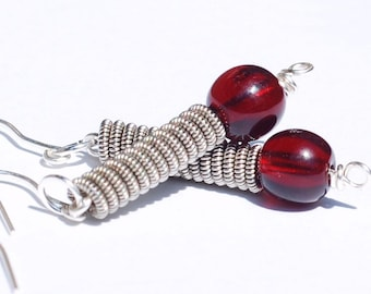 Guitar String Jewelry- Silver & Garnet Red Bead Guitar String Earrings, Music Jewelry, Guitar Player Gift by Tanith Rohe