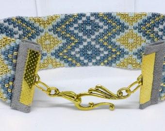 Blue and Gold Loom Bracelet