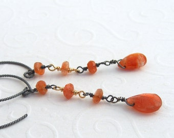 Sun Stone orange Earrings 925 silver blackened, long earrings, biearrings, bicolor, sterling silver