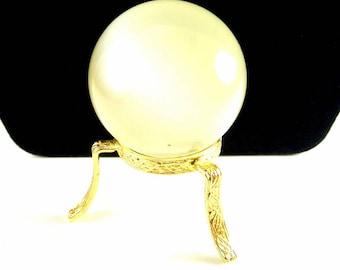 Selenite Crystal Ball Selenite Sphere Healing Selenite Ball Vintage 1990 Crystal Ball with Gold Tone Stand