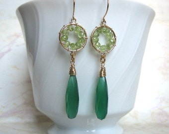 Pinwheel Design- Earrings, Peridot, Green Chalcedony, Gold Filled, Wire Wrapped