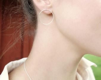 Silver circle earrings - Minimalist earrings, Circle stud earrings, Silver studs, Silver hoops, Geometric earrings, Dainty earrings, Studs