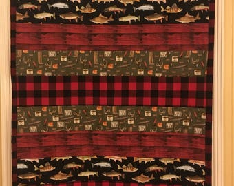 Baby boy crib quil with buffalo plaid and fishing.