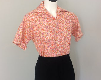 Vintage Liberty of London Floral Short Sleeve Button Up Top by Lady Hathaway Size 10 Made in Canada