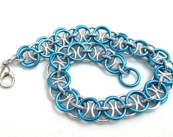 Sky Blue Helm Chainmaille Bracelet - Sky Blue Chain Maille Bracelet - Chain Bracelet