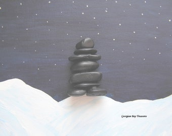 Inukshuk Inuit symbol sculpture Olympics cairn Indigenous Canada stone man home office decor protection guide handmade in Canada OOAK GBT337