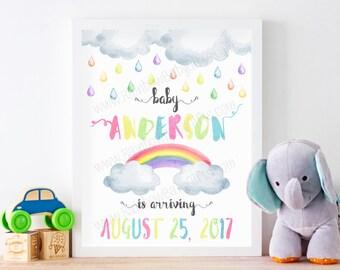 Rainbow Baby Pregnancy Announcement Sign, PRINTABLE Pastel Rainbow Watercolor Baby Announcement Sign, Expecting Baby Announcement