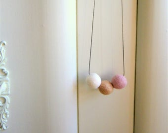 Pastel Felt Necklace Textile Necklace Taupe Necklace Textile Jewelry Felt Jewelry