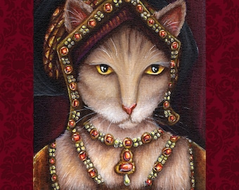 Tudor Cat Art, Jane Seymour, King Henry VIII Wives 5x7 Art Print