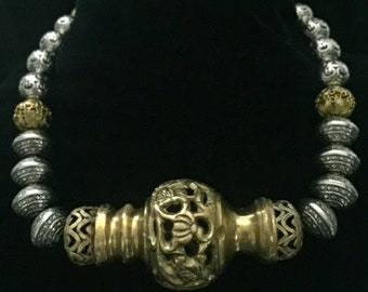 Brass & Silver plate beaded necklace
