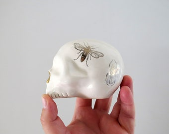 Silver and Gold Insect Beetle Skull