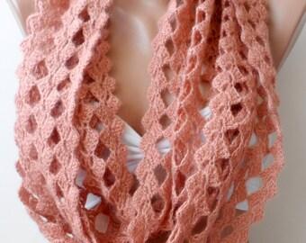 Salmon Crochet Scarf Crocheted scarf Salmon scarf loop scarf Fashion scarf Crochet cowl scarf Eternity scarf Christmas gifts Trend elegance