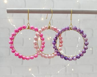 Spring, Valentine's Day Ornaments with Freshwater Pearls in Pink and Purple, set of 3