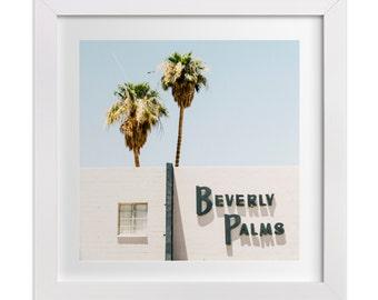 Las Vegas Print, Old Vegas Art Print, Beverly Palms Photograph, Minimalist Art, Square Palm Tree Print, Retro, Summer, Mid Century Modern