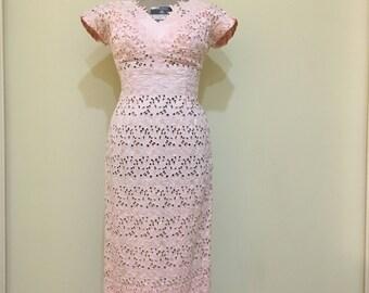 1960s Eyelet Wiggle Dress, Vintage Womens, Small/Medium