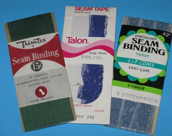 Vintage Seam Binding Rayon and Lace 3 vintage packages Blue and Emerald Green
