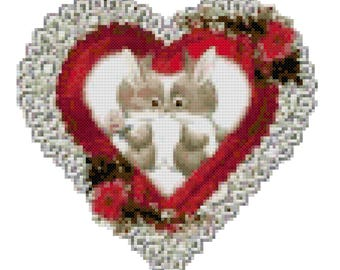A Bunny Valentine Counted Cross Stitch Pattern PDF Download