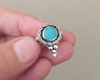Turquoise Ring Sterling Silver Dainty Ring Gemstone Ring Handmade Turquoise Jewelry Gift for Her Stacking Promise Ring Gift for Women