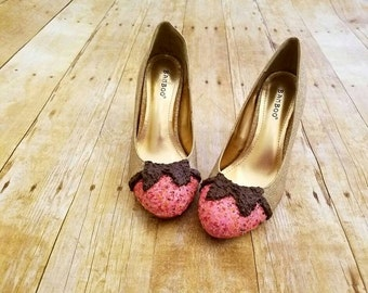 Gold shoes, Bridal shoes, Icecream design, Wedding shoes,Dessert Shoes, Gold Heels