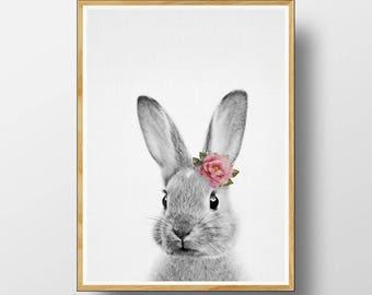 Rabbit Print, Nursery Animals, Nursery Printable, Nursery Animal Print, Nursery Art Print, Woodlands Nursery, Watercolour Flower, Rabbit