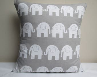 "Handmade Elephants Cushion Cover Pillow Cover Grey 16"" ~ Ready To Ship"