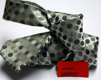 Silk Tie in Dots with Shades Green on Silver