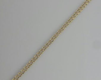"14k Yellow Gold Chain Link Charm Bracelet with Lobster Clasp 7.5"" Long"