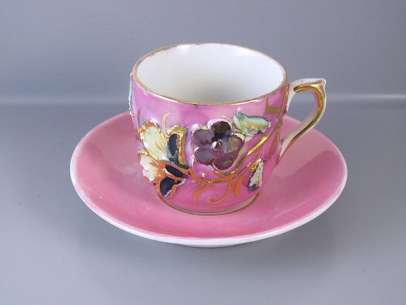 Vintage hand painted pink and gold made in Germany demitasse cup and saucer / porcelain / china / bone china / tea / coffee